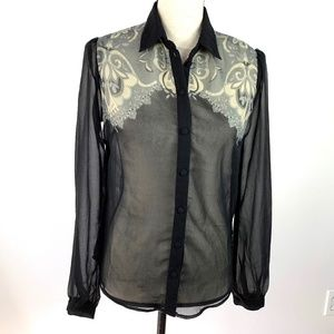 Sparkle & Fade Urban Outfitters Sheer Western Top